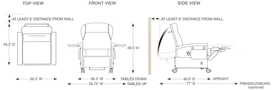 Champion Chair  54 Series Space Requirements