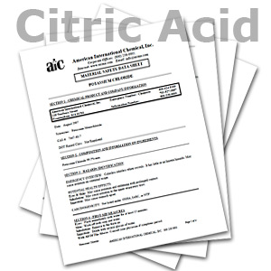 Edlaw Citric Acid Material Safety Data Sheets (MSDS)